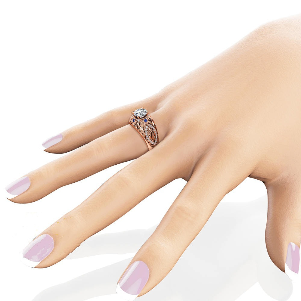 Dropwow Mossovy Openwork Floral Zircon Rose Gold Engagement Ring for ... d2d4059b6e49