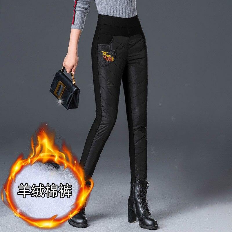 Abeille broderie automne hiver pantalon femmes Skinny cheville longueur cachemire taille haute pantalon Patchwork Long pantalon femme TP1960