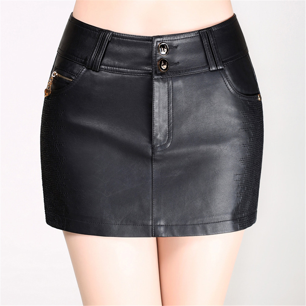 4da4ba67f5 Hot Sale Black Shorts Skirts Womens New Fashion High Quality Skirts Female  Mini Leather Shorts M