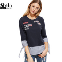 SheIn Women T Shirt Womens Clothing Navy Striped Trim Tie Three Quarter Length Sleeve T Shirt