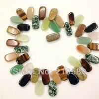H-CCB27 Mix Agates Stone Slab Briolette Beads