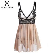 Sexy Nighty Lace Women Night Dress Champagne Embroidery V Neck Sleeveless Camisola Open Back High Waist Mini Nightwear Sleepwear