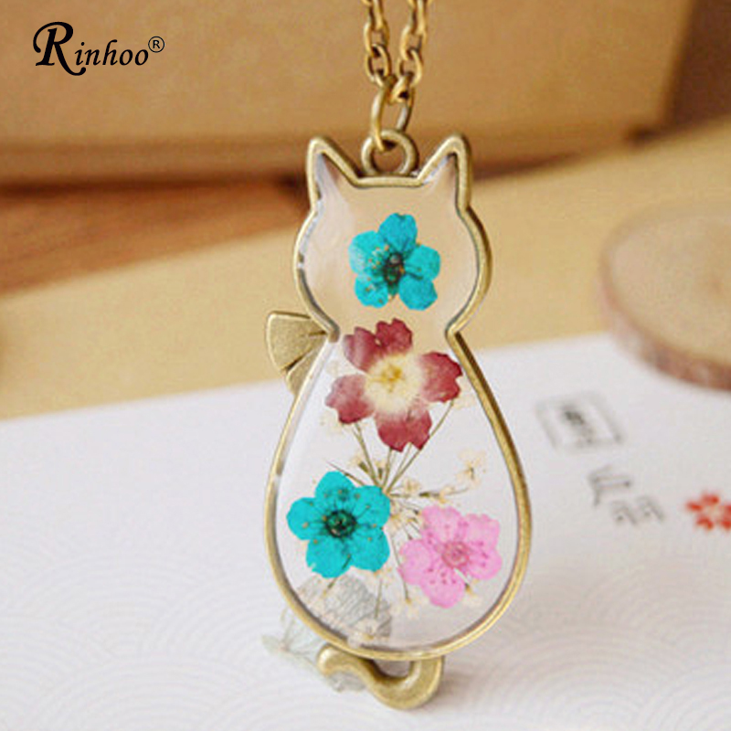 Handmade Bronze Dried Flower & Resin Cat Pendant