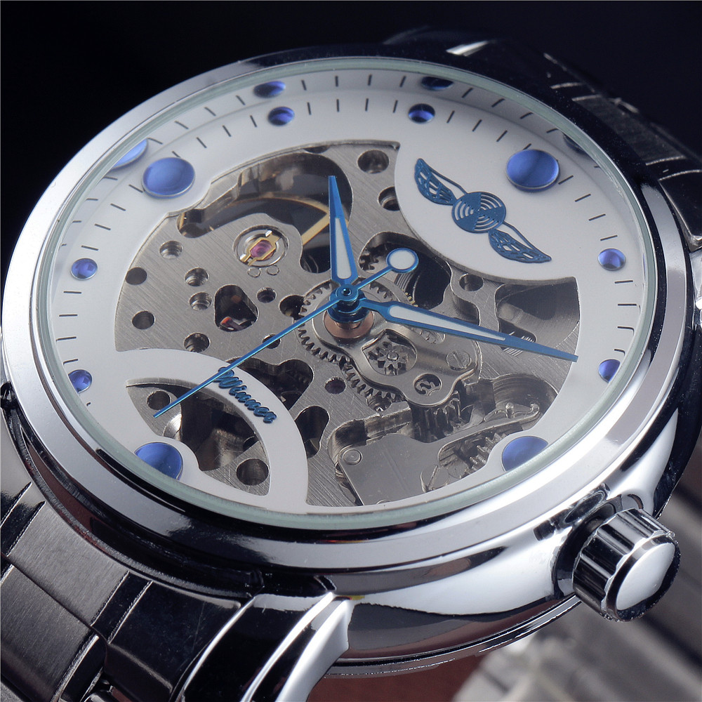 Winner Blue Ocean Fashion Casual Designer Stainless Steel Men Skeleton Watch Mens Watches Top Brand Luxury