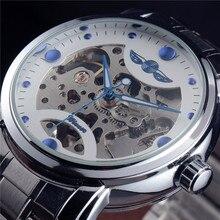 Gagnant Bleu Océan De Mode Designer Casual Acier Inoxydable Hommes Squelette Montre Hommes Montres Top Marque De Luxe Montre Automatique Horloge