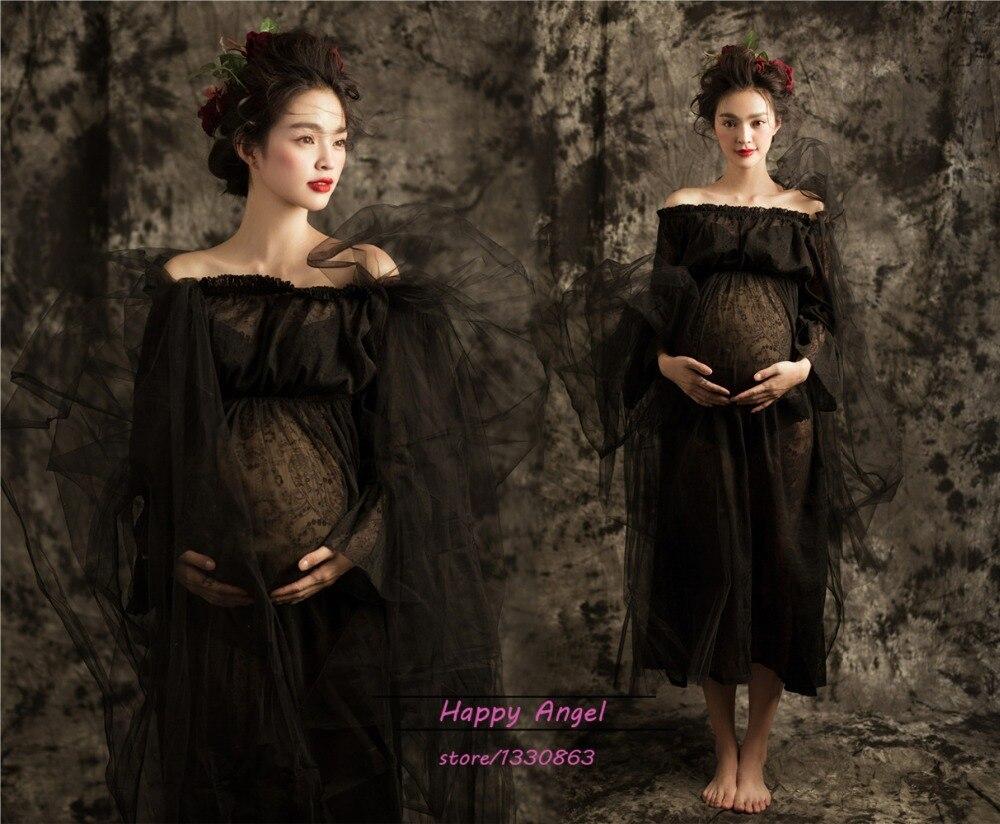 Черна рокля с дълги дантела без - Бременност и майчинство - Снимка 2