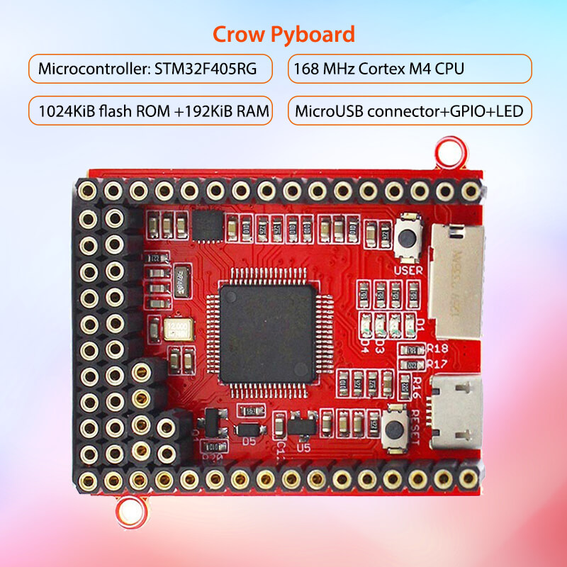 Elecrow Core Board For MicroPython Crow Pyboard Development Board STM32F405RG for Pyboard Python Learning Module MicrocontrollerElecrow Core Board For MicroPython Crow Pyboard Development Board STM32F405RG for Pyboard Python Learning Module Microcontroller