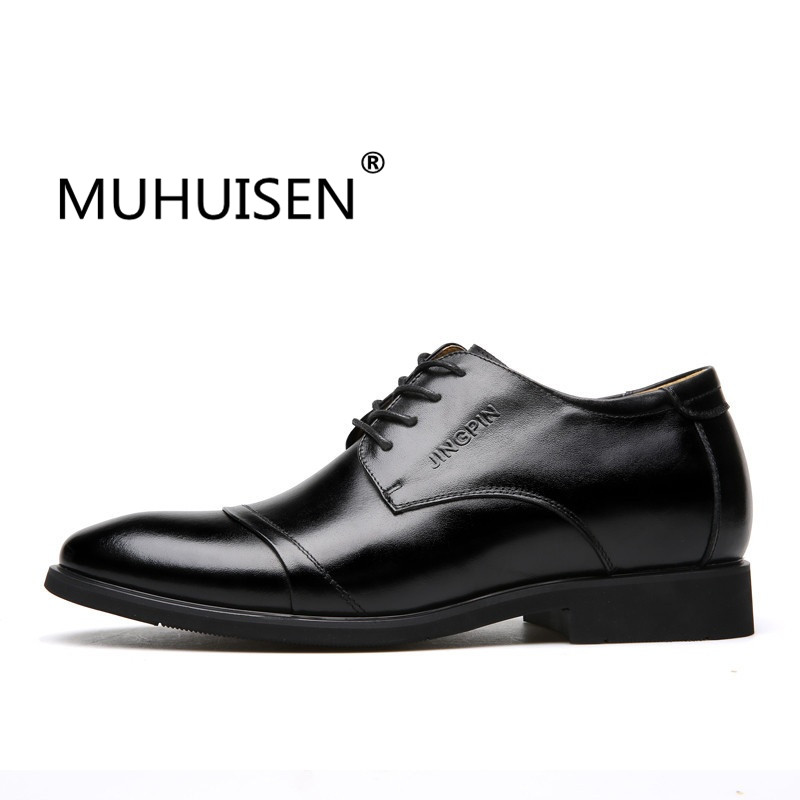2018 Men Brogue Elegant Shoes Men Formal Shoes Cow Split Leather Height Increasing Elevator Shoes