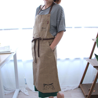 Cartoon Japanese Style Aprons for Women Men, waterproof Kitchen Canvas Apron Cleaning Painting baking coffee Cooking household
