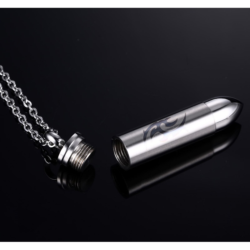 Vinterly Cross 4 Colors Bullet Shape Stainless Steel Cremation Pendant Kecklace Pets Keepsake Urns for Ashes Black Color Jewelry