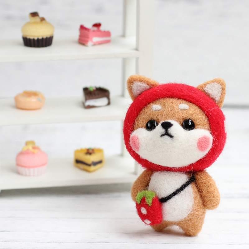 Wool Felting Kit Diy Handmade Cute Animals Doll Tool Set Craft Felting Material Bag