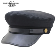 PU Leather Military Cap Men Cotton Kepi Army Cap Sailor Hats for Women Men Flat Top Female Travel Cadet Hat Captain Military Hat fashion alloy buttons embellished military hat for men