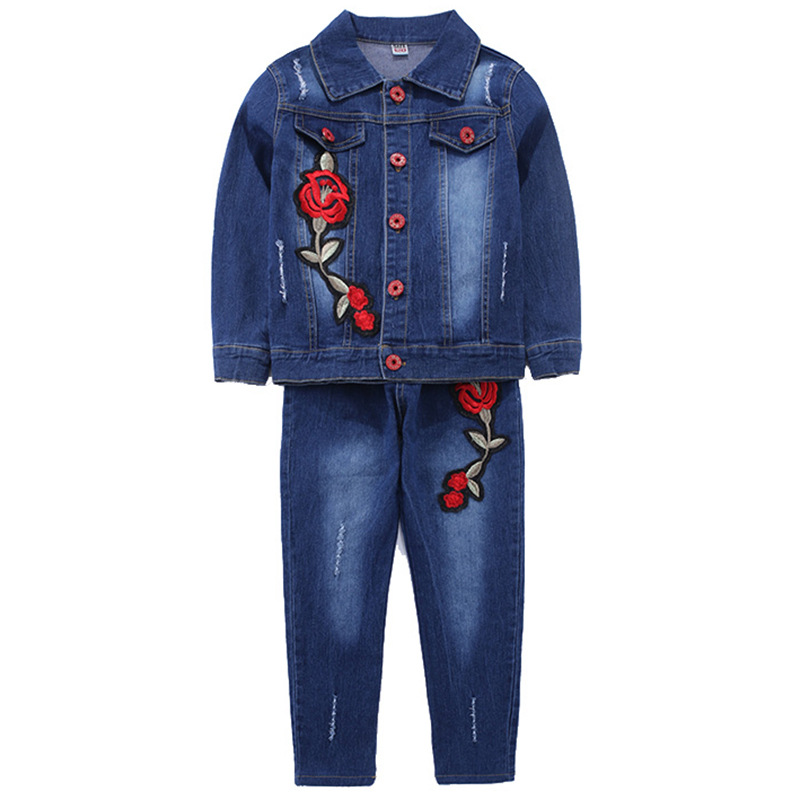 2018 Spring Sweet Baby Girls Red Flower 2pcs Set Denim Suit Kids Clothes Children Clothing Infantil Top+jeans Tracksuit Costume 2016 new hot spring baby girls clothing set children denim overalls jeans pants blouse full sleeve twinset kids clothes set