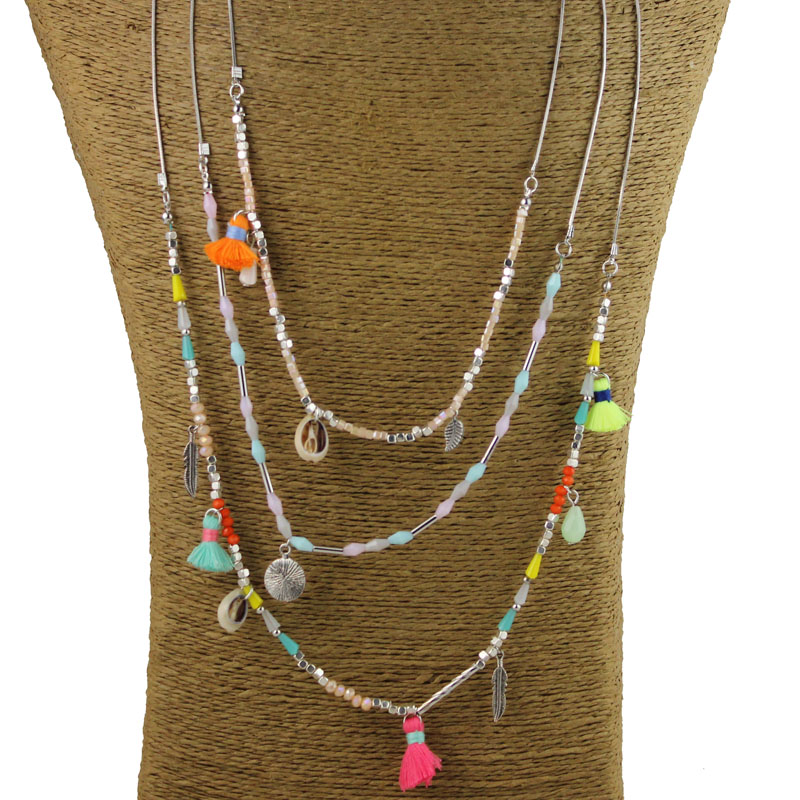 New Arrived Fashion Spring Jewelry Colorful Crystal Beads String Chain Bohemia Tassel Lady Dress Beach Holiday Necklace