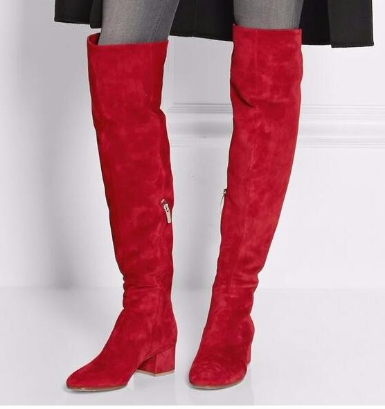 Newest Red Suede Round Toe Over The Knee Boots 2017 Thick Heels Woman Fashion Boots Winter Long Boots Riding Boots Low heel 2018 newest fashion over the knee boots woman round toe silver chain flat long boots women fashion thigh botas low heel shoes