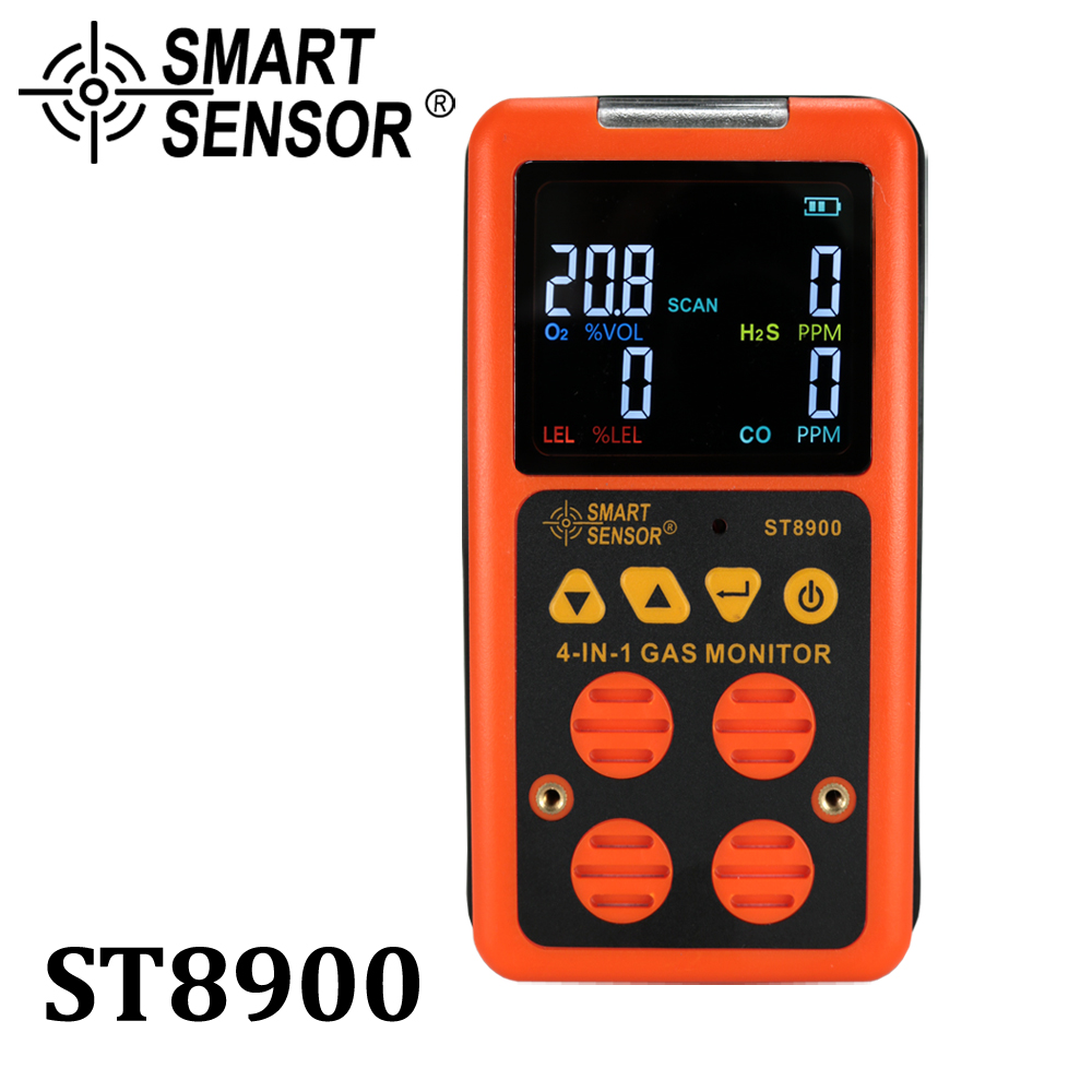 4 in 1 Multi Gas Detector Gas Monitor Oxygen O2 Hydrogen Sulfide H2S Carbon Monoxide CO Combustible Gas LEL gas analyzer meter digital gas detector 4 in 1 o2 h2s co lel handheld mini gas analyzer air monitor gas leak tester carbon monoxide meter