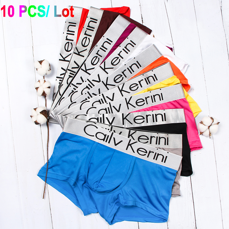 10 Pcs/lot Boxershorts Soft Letter Printed Boxer Shorts Bulge Pouch Underpants Mens
