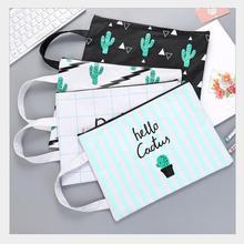 10pcs/lot Kawaii Cactus Document Bag File Bag Package for A4 paper portable pocket folder holder bag School Gift Wholesale