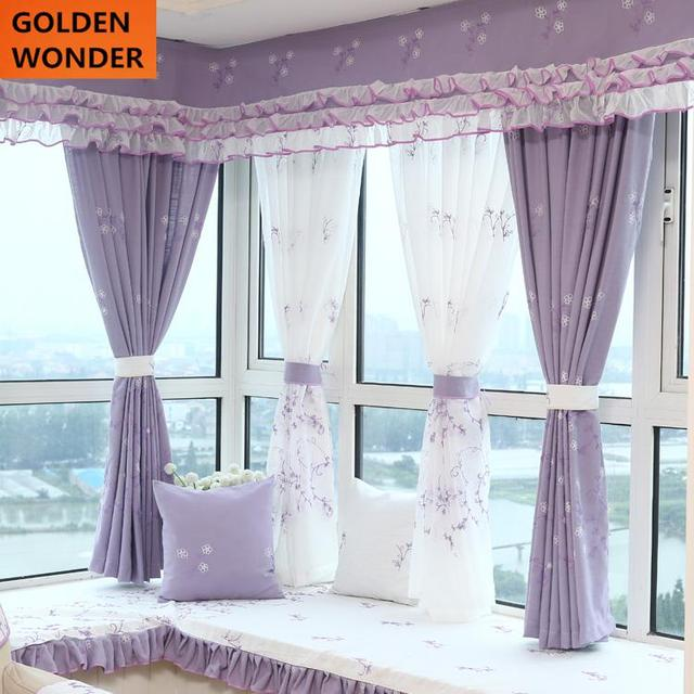 purple color for living room home decor inspiration new arrival mediterranean style curtain violet children s curtains bay window