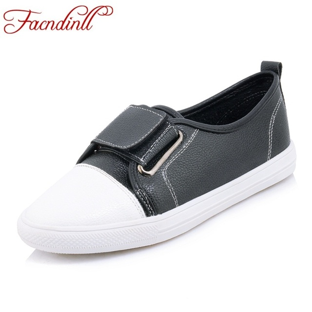 FACNDINLL 2018 new spring women flats shoes high qulaity pu leather flat  heel round toe shoes