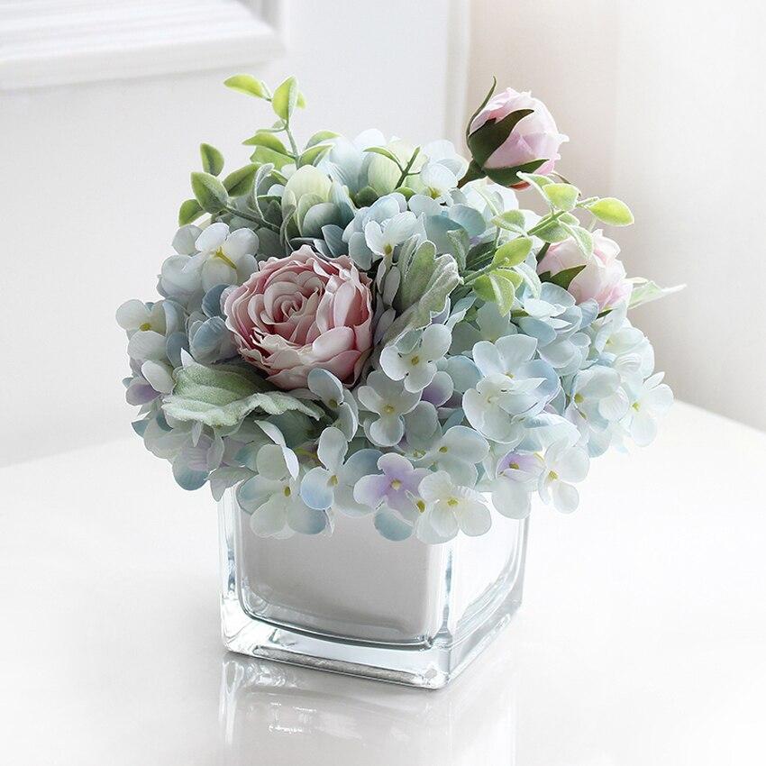 Vase en verre d'europe de haute qualité avec des fleurs artificielles définit des récipients en verre de terrarium à la maison vases à fleurs décor de mariages créatifs