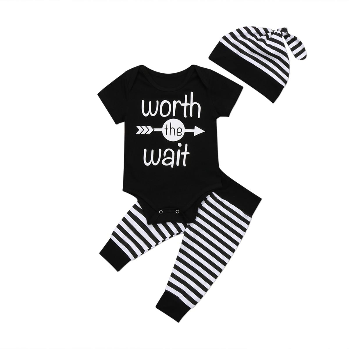 Newborn Baby Boys Short Sleeve Letter Bodysuit + Pants