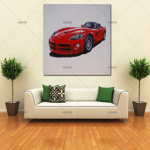 Online Shop Modern Abstract 100% handpainted Red Ferrari sports car ...