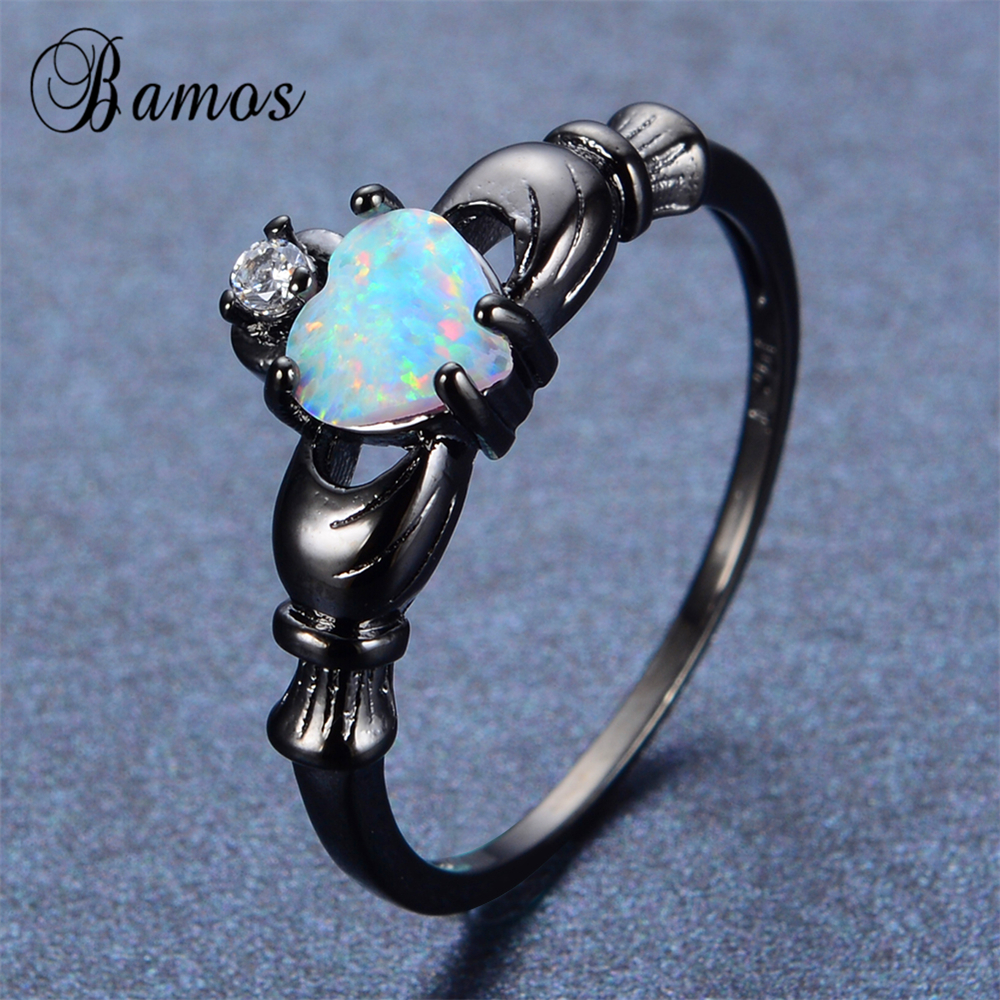 Bamos 2017 Female Heart Ring Claddagh White Opal Ring Black Gold Filled  Jewelry Retro Wedding Rings