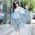 Large Chiffon Sunscreen Beach Tunic Shawl Scarfs Floral Poncho Cape Scarf Women Kaftan Kimono Bikini Cover Up Swimsuit Cover Up
