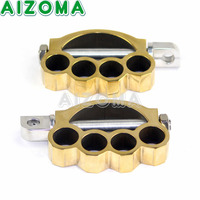 2x Billet Brass Control Foot Pegs Footrest Motorcycle Male Mount Footpeg Custom Foot Pedal For Harley Sportster Softail Touring