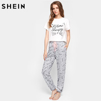SHEIN Cat Pattern Print Round Neck Short Sleeve Top And Pants Pajama Set Cute Summer Sleepwear
