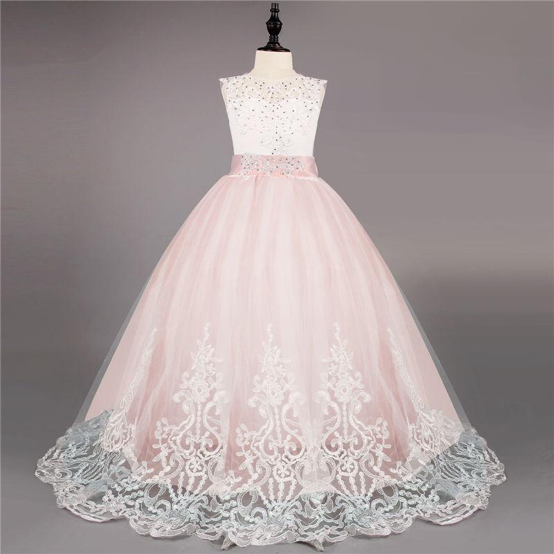 Children Girls Big Bow Long Prom Gown Princess Embroidery Flower Dress Kids Beading Dresses for Girls vestido de festa infantil стоимость