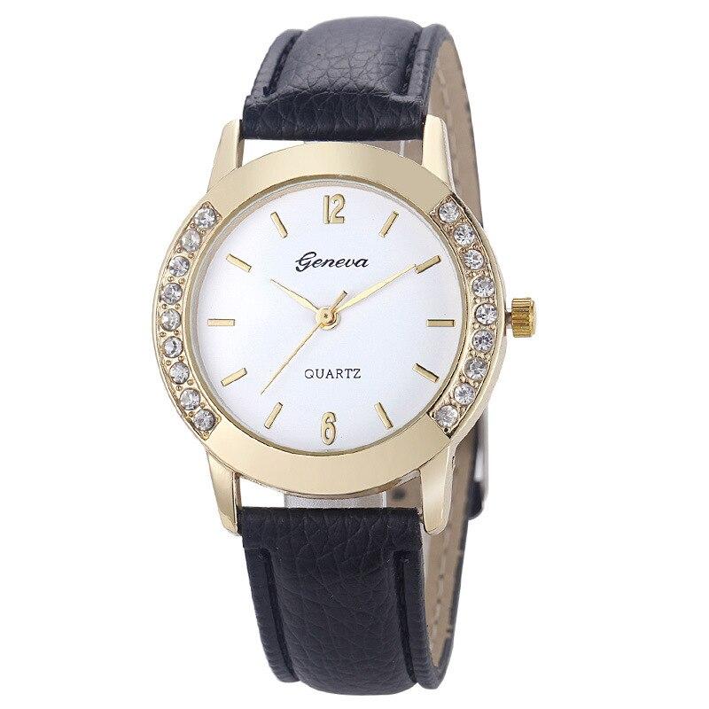 Luxury Brand Leather Crystal Quartz Watch Women Ladies Fashion Casual Bracelet Wrist Watch Wristwatches Clock Relogio Feminino