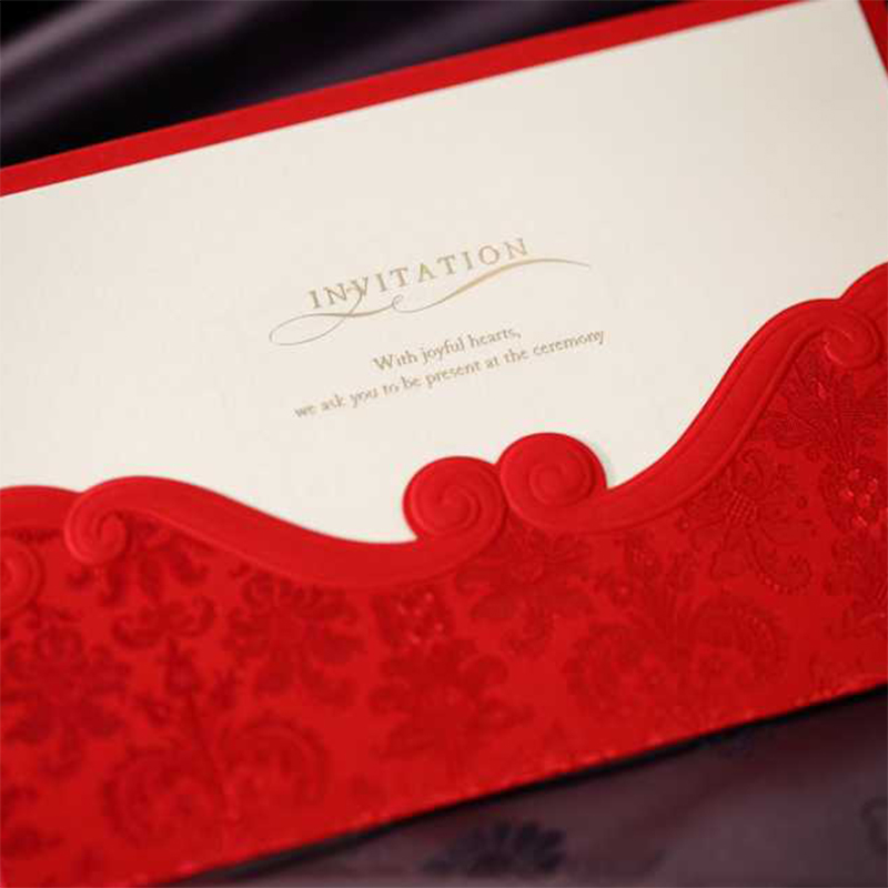 Red lace Floewr Pocket Wedding invitations Kit Design Printing Invitation Cards Blank Inside Paper envelope Casamento Convite square design white laser cut invitations kit blanl paper printing wedding invitation card set send envelope casamento convite