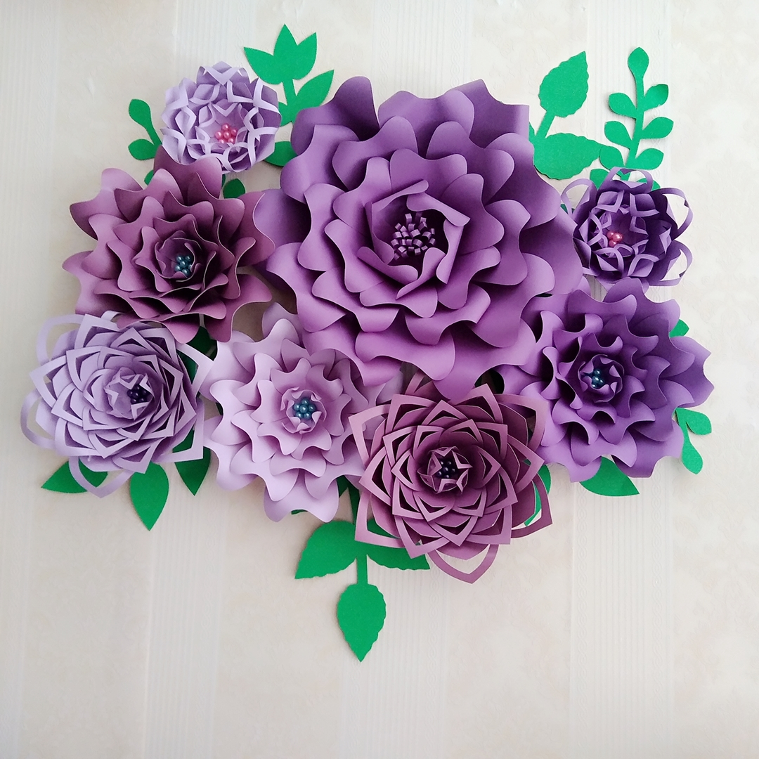 2018 Half Made Purple Giant Paper Flowers DIY Full Kits