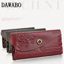 DAWABO blommiga kvinnor plånböcker Hasp Coin handväska Kvinnor äkta läder varumärke Långt Purse Card Holder Feminina Carteira Handväska