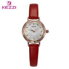KEZZI מותג אופנה באיכות גבוהה Slim נשים שמלה צפו גבירותיי עמיד למים אנלוגי בנות קוורץ שורש כף יד שעונים רצועת עור שעון