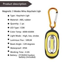 LemonBest COB LED Flashlight Light 3-Mode Mini Lamp Key Chain Ring Keychain PVC Lamp Torch Keyring Green/Red/Yellow/Blue