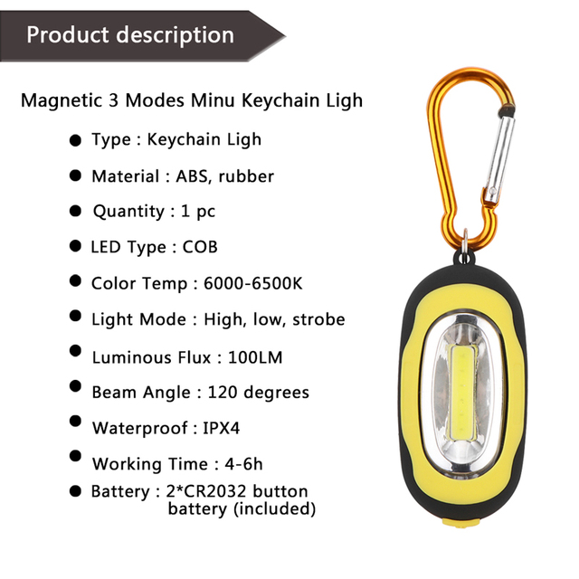 LemonBest COB LED Flashlight Light 3-Mode Mini Lamp Key Chain Ring Keychain PVC Lamp Torch Keyring Green/Red/Yellow/Blue