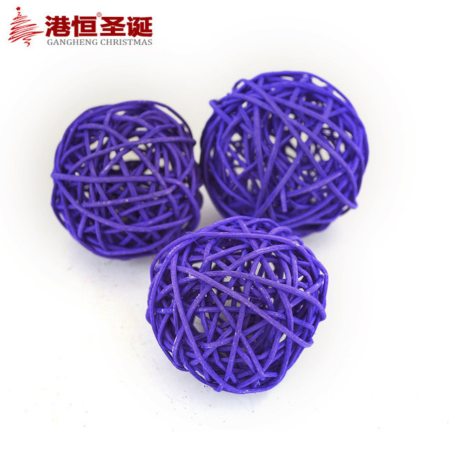 Purple Balls For Decoration Inspiration 7Cm3Pcs Purple Rattan Kraft Hollow Christmas Balls Christmas Inspiration Design