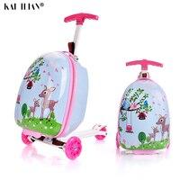 Чемодан с колесом 16 дюймовый детский скутер чемодан маленький подарок милая переноска на тележке Багаж школьная сумка Скалка багаж мультф