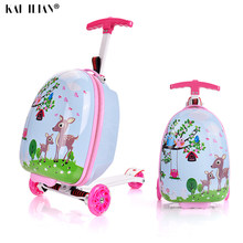 "suitcase with wheel 16"" inch child scooter suitcase small gift cute carry on trolley luggage school bag rolling luggage cartoon(China)"