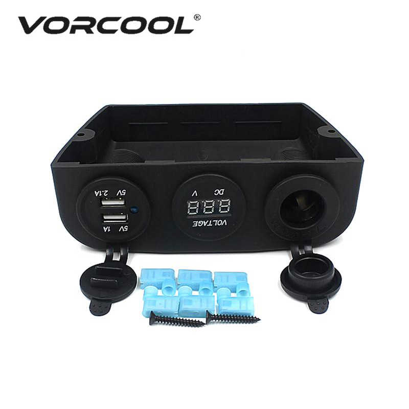 VORCOOL 12-24V Car Auto Boat Caravan Cigarette Lighter Socket & Dual USB Power Adapter Charger & LED Digital Voltmeter Combo