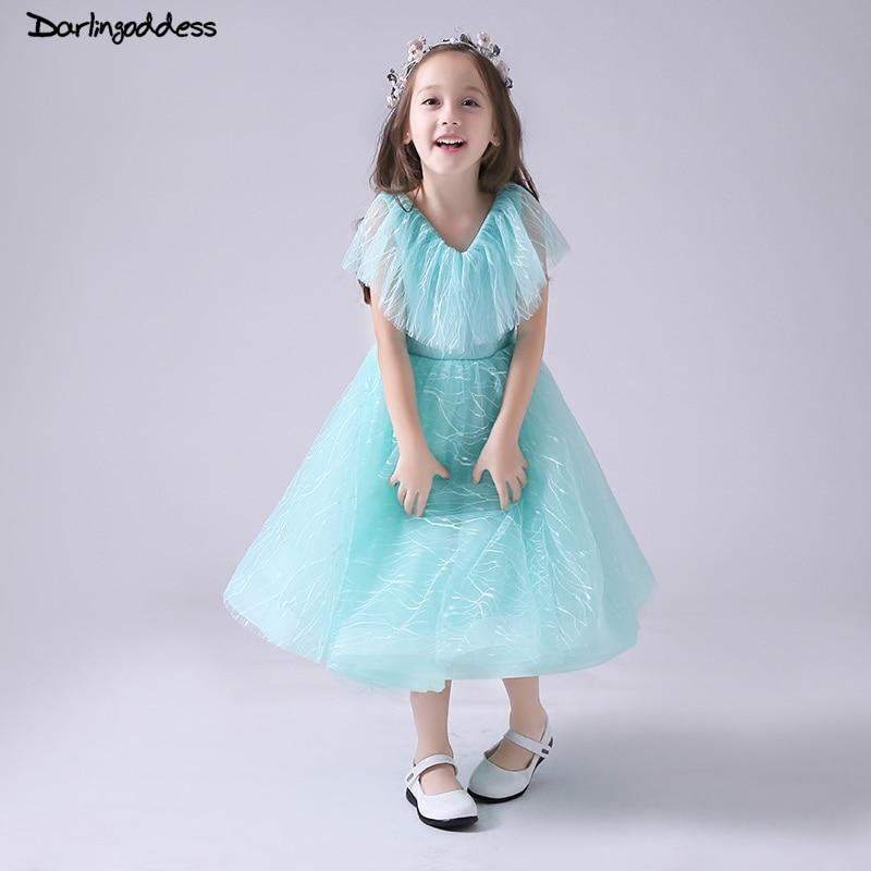 Mint Green   Flower     Girl     Dress   for Weddings 2018 Kids Evening   Dress   Short Sleeve First Communion   Dresses   for   Girls   Pageant Gowns
