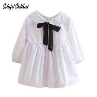 소녀 드레스 공주 의상 2018 새로운 블랙 bowknot 디자인 아이 옷 긴 소매 학교 여자 드레스 아기 vestidos 2-6Yrs