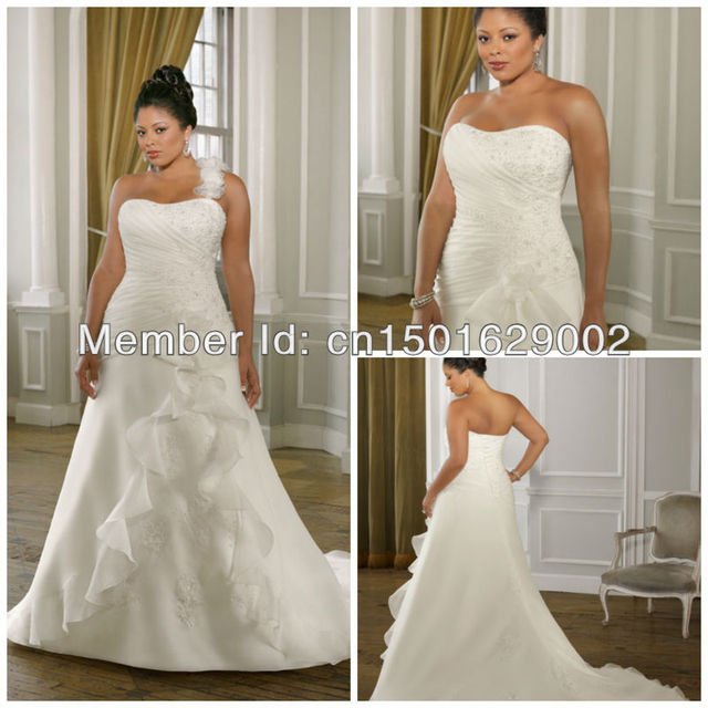 3985ee32246 ph0890 Organza with Embroidered Lace. Detachable flowered one shoulder strap  wedding dress plus size lace