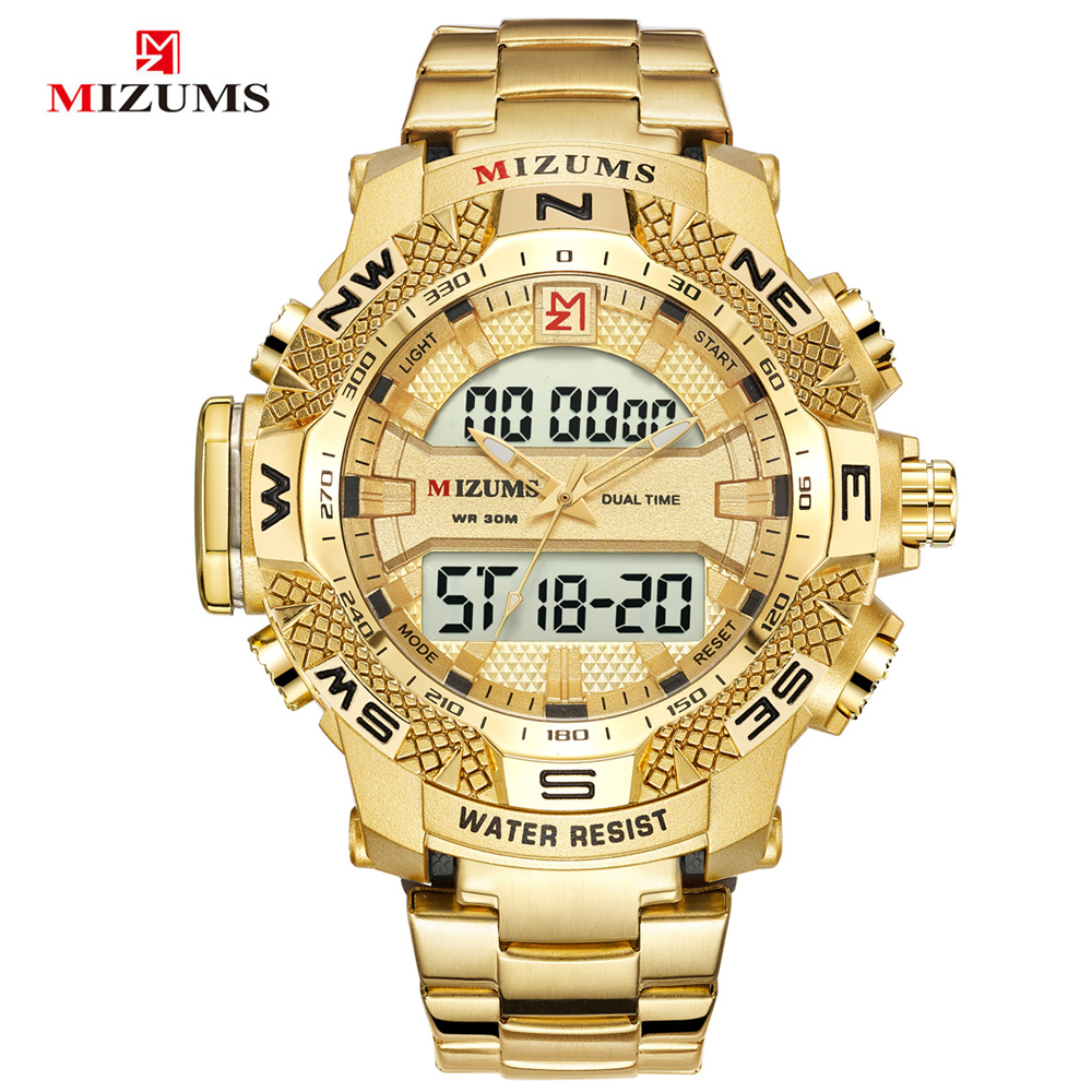 Mizums Männer Uhr Top Marke Luxus Gold Männer Sport Digitale Uhren Für Männer Quarz Armbanduhr Relogio Masculino Drop Verschiffen Feine Verarbeitung Herrenuhren