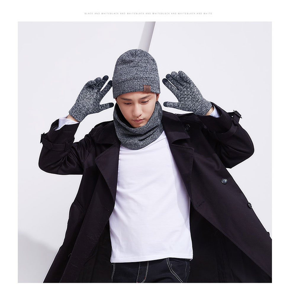 3Pcs/Set Knitted Hat Glove Scarf Set Winter Thick Warm Snug Knit Velvet Lining Hat + Scarf + Touch Screen Gloves For Men Women