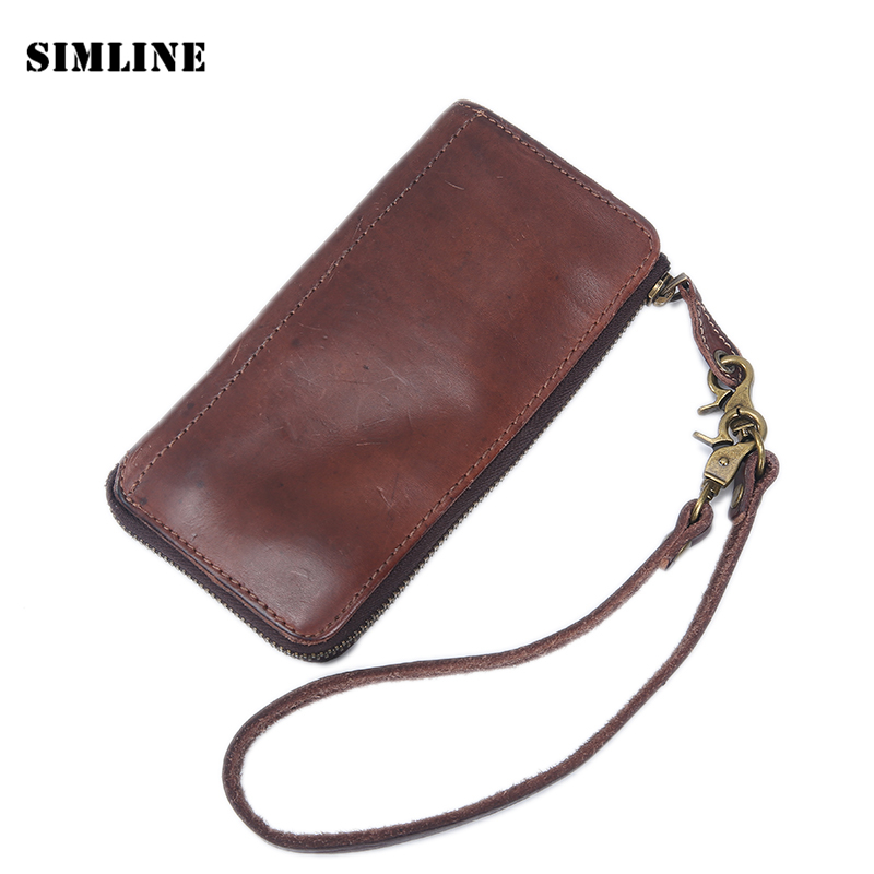 Vintage Handmade Genuine Vegetable Tanned Leather Real Cowhide Men Long Zipper Wallet Wallets Purse Clutch Bag With Leather Rope difenise vegetable tanned leather wallets vintage hollow out style womens fashion short clutch wallet high quality with gift box