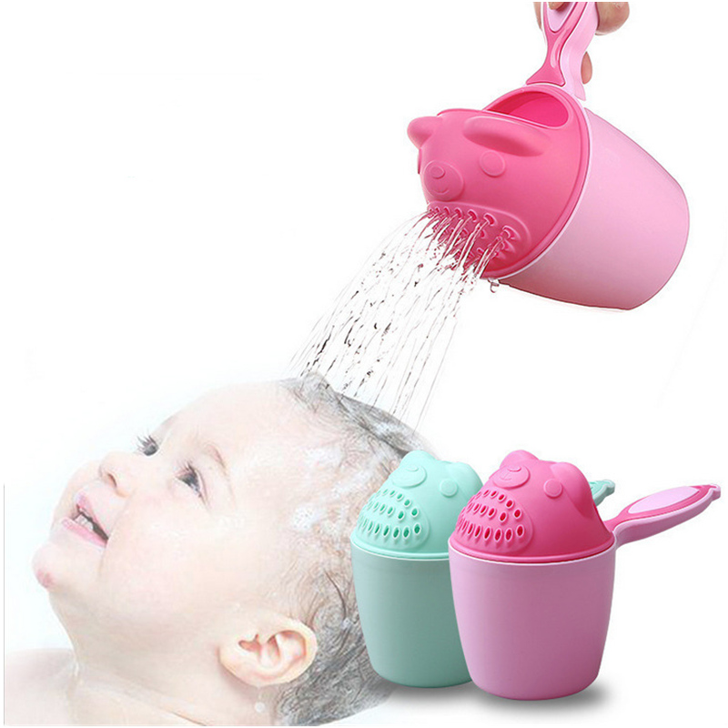 1PC Cartoon Baby Shampoo Cup Rinse Kids Hair Wash Baby Bath Cup Bathing Water Shower Pouring Toys Shower Spoons Baby Care